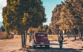 Vue arrière de voiture rétro rouge, homme, arbres, automne