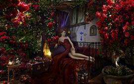 Falda vermelha menina, cama, pose, rosas, maçãs, lâmpada