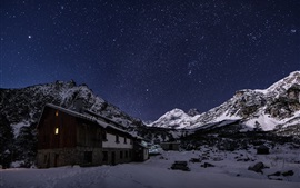 Preview wallpaper Rila mountain, Bulgaria, starry, sky, house, night