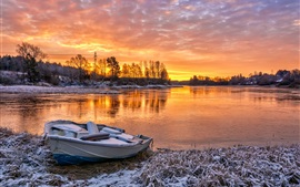 Preview wallpaper River, boat, trees, snow, clouds, red sky, sunset, winter