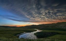River, grass, clouds, sunset