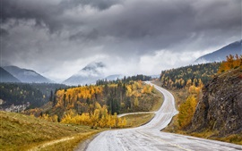 Preview wallpaper Road, trees, hills, clouds, autumn, dusk