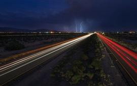 Estradas, linhas de luz, raios, noite