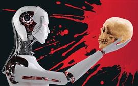 Robot, crâne, sang, image créative