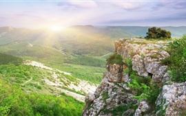 预览壁纸 岩石,小山,日出,早晨