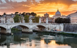 Roma, bridge, river, city, sunset