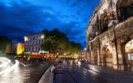 Roma, Itália, Coliseu, noite, árvores, rua, luzes