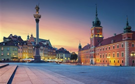 Preview wallpaper Royal Palace, Poland, Warsaw, night