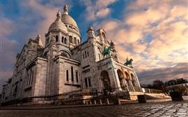 Sacré-Cœur, Montmartre, Paris, bâtiments, nuages, crépuscule, France