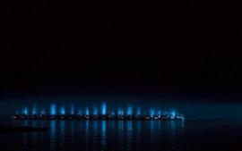 Mer, nuit, bateaux, lumières