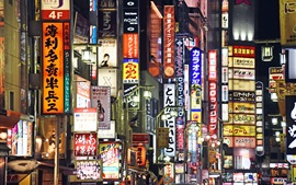 Синдзюку, Токио, Япония, городская ночь, вывеска