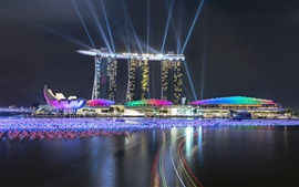 Preview wallpaper Singapore, beautiful lights, night city, buildings