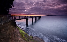 Preview wallpaper Slope, bridge, pier, sea, clouds, sunset
