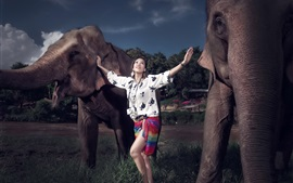 Preview wallpaper Smile Asian girl, two elephants