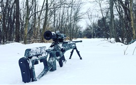 Preview wallpaper Sniper rifle, snow, trees, winter