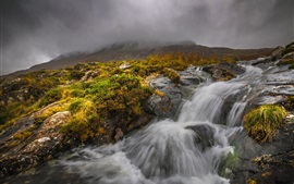 Preview wallpaper Snowdonia, Wales, stream, fog, clouds, autumn
