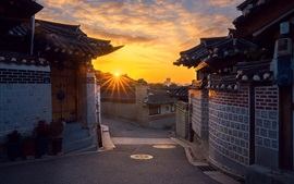 Preview wallpaper South Korea, Seoul, old town, morning, sunrise
