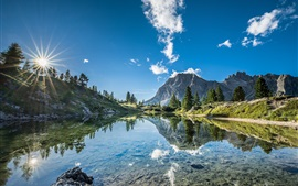 Preview wallpaper South Tyrol, Italy, lake, trees, mountains, blue sky, clouds, water reflection