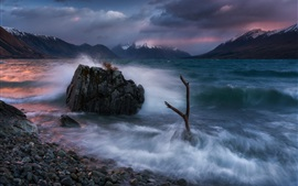 Preview wallpaper Southern Alps, New Zealand, Lake Ohau, waves, stones, clouds, morning
