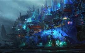 Estación espacial, pintura de arte abstracto