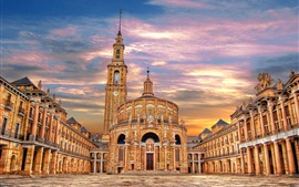 Spain, Asturias, church, buildings, dusk