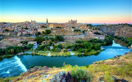 Preview wallpaper Spain, Toledo, beautiful city, river, houses