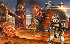 Preview wallpaper Star Wars, soldiers, battle, art drawing