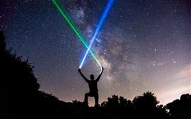 미리보기 배경 화면 별이 빛나는 밤, 사람, 광선 검