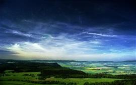 Estrelado, céu, floresta, campos, cidade, linda paisagem