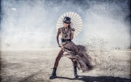 Preview wallpaper Steampunk, girl, umbrella, wind, dissolved, creative