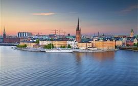 Estocolmo, casco antiguo, yate, río, atardecer, Suecia