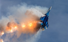 Preview wallpaper Su-30SM multirole fighter aircraft, flight, fight, smoke