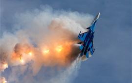 Su-30SM avion de combat multirôle, vol, combat, fumée