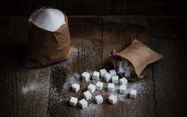 Cubo de açúcar, saco, comida