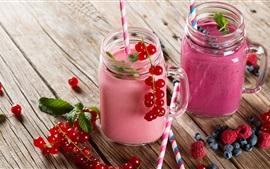 Summer dessert, smoothies, blueberries, currants, raspberry