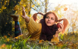 Preview wallpaper Sweater girl, rest on ground, leaves, scarf, apple, autumn