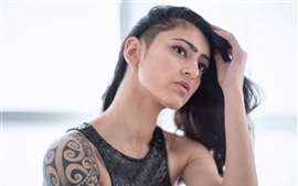 Preview wallpaper Tattoo girl, hairstyle