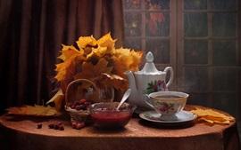 Té, mermelada, bayas, hojas de arce, naturaleza muerta, ventana