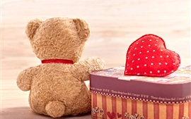 Preview wallpaper Teddy bear back view, love heart, gift