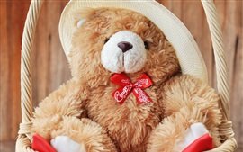 Preview wallpaper Teddy, bear, toy, hat, basket