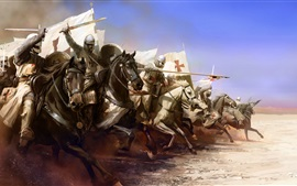 Preview wallpaper Templar, knight, armor, horse, attack, art picture