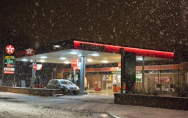 Preview wallpaper Texaco gas station, winter, snowy, night, lights
