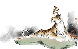 Preview wallpaper Tigers, Chinese watercolor painting