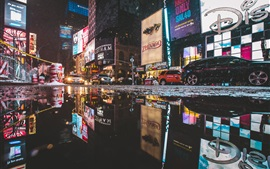 Times Square, Manhattan, New York, street, puddle, cars, city night, USA