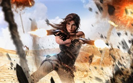 Preview wallpaper Tomb Raider, Lara Croft, guns, explosions