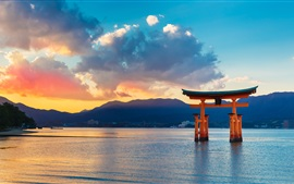 Preview wallpaper Torii Gate, sea, sunset, Japan