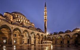 Preview wallpaper Turkey, Istanbul, Suleymaniye Mosque, architecture, city night