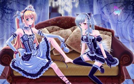 Preview wallpaper Two anime girls, sofa