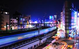 Уэно, Токио, вокзал, город, ночь, здания, огни, Япония