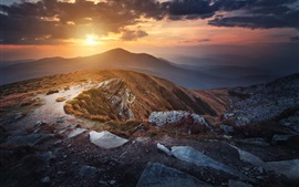 Ukraine, Carpathians, mountains, clouds, sunset